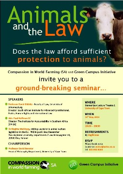 Animals and the Law: Seminar in Cape Town, at UCT, 13 May 2013
