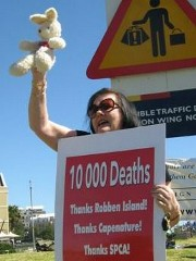 Beryl Scott at a Robben Island rabbit culling protest, October 2008