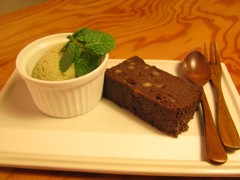 Chocolate cake and green tea ice cream in Yonago, Japan. Photo courtesy of Carey Finn