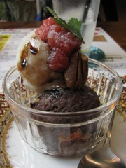 2 scoops of vegan ice cream at Ping Pang Café, Kyoto, Japan. Photo courtesy of Carey Finn