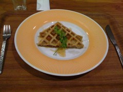 Japanese 'overnight' brown rice waffles and maple syrup. Photo courtesy of Carey Finn